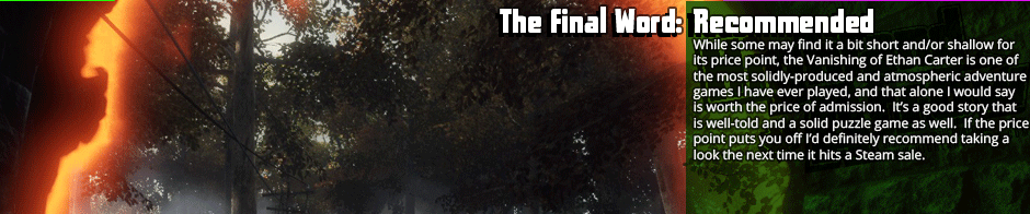 The Final Word: Recommended - While same may find it a bit short and/or shallow for its price point, the Vanishing of Ethan Carter is one of the most solidly-produced and atmospheric adventure games I have ever played, and that alone I would say is worth the price of admission.  It's a good story that is well-told and a solid puzzle game as well.  If the price point puts you off I'd definitely recommend taking a look the next time it hits a Steam sale.
